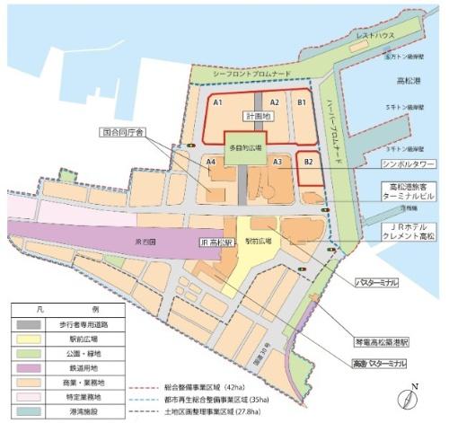 新体育館建設予定地の周辺状況。現在は暫定的に、軽スポーツやレクリエーションなどを楽しめる広場として利用されている(資料:香川県「新香川県立体育館整備基本計画」)