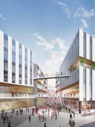 京浜急行電鉄空港線・東京モノレール天空橋駅前に新たに整備される「交通広場」から複合施設を見た完成イメージ。新設する複合施設は、天空橋駅と直結させる計画だ(資料:鹿島)