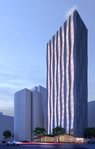 建物外観の夕景イメージ。波打つようなデザインのファサードは枯山水に着想を得ている。低層部はガラス張りでオープンなロビーを計画している(資料:フレイザーズ・ホスピタリティー)
