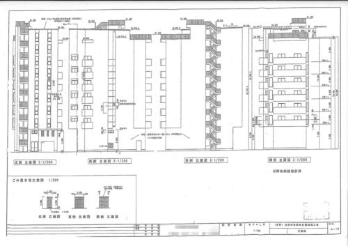 マテリアル菅原の立面図。7階建てとして確認申請書を提出していた。7階部分は階高が約5.6mあった。こうした空間や屋上部分に増床、増築して8階と9階のフロアを違法に建築していた(資料:池田市)