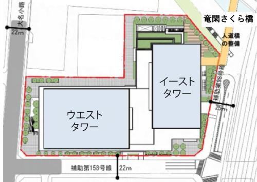 2棟をL字形に配置している。建物の周辺には、グリーンプロムナードなどの植栽帯を連続的に設け、あらゆる方向から来街者が立ち寄れる休憩スペースを用意した(資料:NTT都市開発の資料に日経アーキテクチュアが加筆)