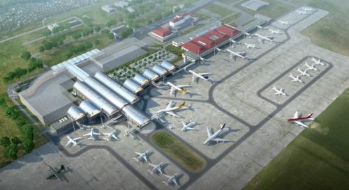 鳥瞰イメージ。図の上が北方向。右奥には、1960年代に開業した第1ターミナルがある(資料:IDA)