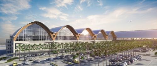 第2ターミナルの北側外観のCG。波形の屋根が続く(資料:IDA)
