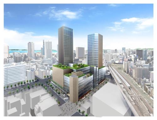神戸市の三宮駅前で計画されている再開発事業で、三菱地所グループが交渉権を獲得した。図は、提案時の完成イメージで、北東側から見たもの。現在は、中央区役所や勤労会館などが立つ一画(資料:三菱地所)