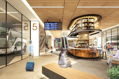 西日本最大級の規模となるバスターミナルの完成イメージ。現在は中・長距離のバスターミナルが分散しており、交通渋滞の一因となっている(資料:三菱地所)