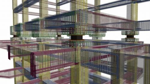 BIMデータから鉄筋の計画を3D化する「鉄筋BIMモデル」。3Dスキャンによる鉄筋検査も試行中だという(資料:スターツコーポレーション)