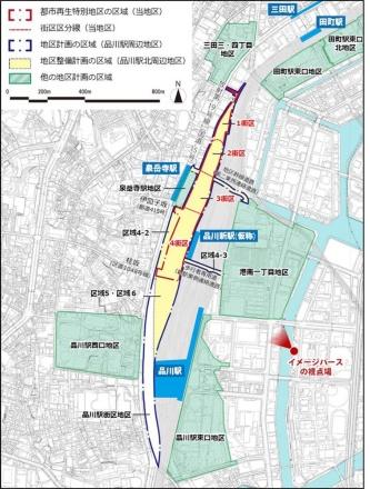 品川開発プロジェクトは品川車両基地跡地を整備する事業で、第1期開発は品川新駅の西側4街区を対象としている(資料:JR東日本)