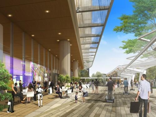 2階デッキの歩行者通路のイメージ。左側の建物が4街区の南棟、右奥に見えるのが品川新駅(資料:JR東日本)