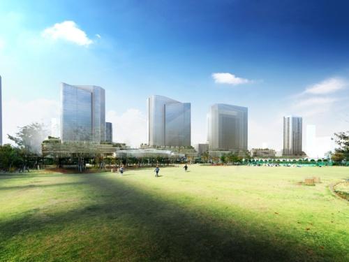 線路をまたいで東側の芝浦中央公園から見る、同プロジェクト第1期の完成イメージ。最も右に立つのが、1街区の建物(資料:JR東日本)
