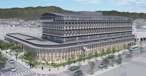 2018年3月時点での各務原市新庁舎外観イメージ。地下1階・地上7階建ての高層棟と、地上2階建ての低層棟を渡り廊下でつなぐ。高層棟は免震構造を採用した(資料:各務原市)