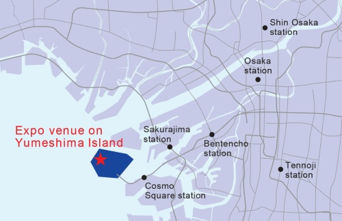会場となるのは、大阪湾に浮かぶ人工島「夢洲(ゆめしま)」(資料:経済産業省)