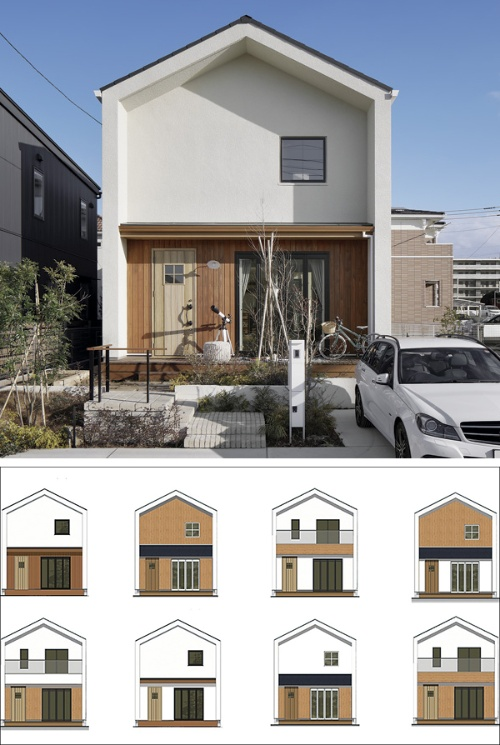三井ホームがミレニアル世代向けに発売した「ナチュラルヒュッゲスタイル」の外観例。外装をカスタマイズできるようにした。事前の調査では、戸建て住宅を購入する際に希望するタイプを「既製品」「セミオーダー」「フルオーダー」に分けて尋ねたところ、「セミオーダー」が51%と約半数を占めた(写真と資料:三井ホーム)