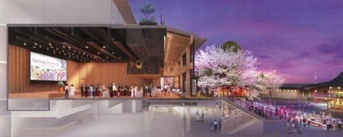神田明神ホールの断面パース。ホワイエやデッキと一体で会場を利用できる開放的なつくりとなっている(資料:神田明神)