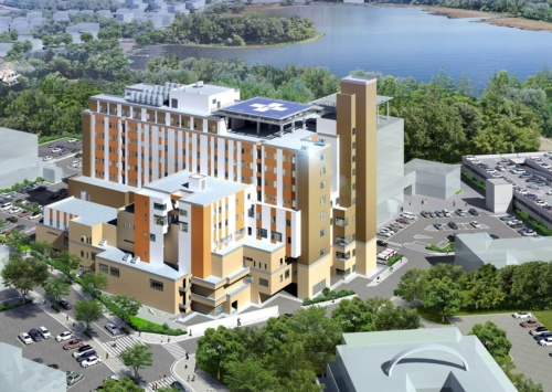 市立釧路総合病院は1872年に開設、1984年に現在地へ移設された。老朽化対策と高度医療の機能確保のため、2015年に蝦名大也・釧路市長が新棟建設を打ち出した。図は、共同建築設計事務所JVが市に提出した完成イメージ(資料:共同建築設計事務所・武田建築設計事務所JV)