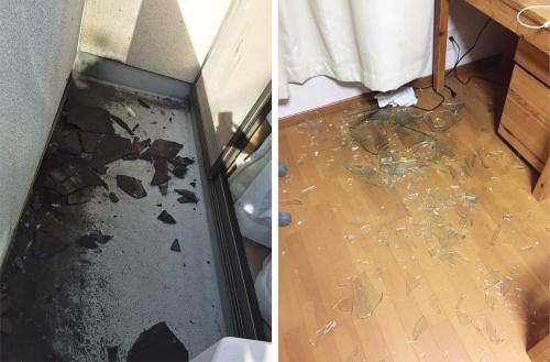 〔写真2〕割れた窓ガラスが室内に散乱