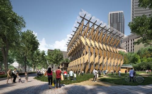 三菱地所と隈研吾建築都市設計事務所、岡山県真庭市が明らかにしたパビリオン棟の完成イメージ。2019年9月に運営開始予定。平屋建てで、約17.5mの高さとする(資料:三菱地所)