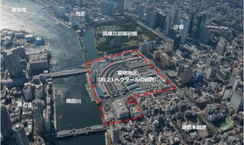 築地市場跡地の鳥瞰(ちょうかん)写真。東京都はMICE施設を開発するに当たって、墨田川沿いにスーパー堤防などを整備する計画を明らかにした。隣接する浜離宮恩賜庭園の防潮堤とスーパー堤防を連携することで、竹芝方面への歩行者ネットワークの拡大も構想している(写真:東京都)