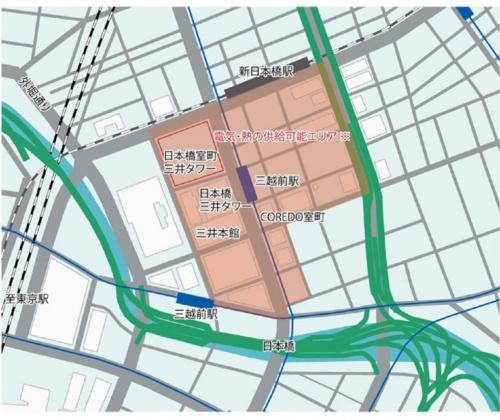 エネルギー供給対象になるのは、日本橋室町地域(図のオレンジの範囲)(出所:三井不動産)