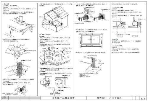 「自社施工品質基準書」のイメージ。ルーフィングの重ね代寸法など、施工許容値を記載することで、施工内容の範囲を顧客に明示することが目的だ(資料:ネクストステージ)