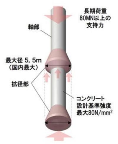 大成建設などが開発した「T-EAGLE杭工法」のイメージ。杭の中間部と底部に拡径部(突起)がある(資料:大成建設)