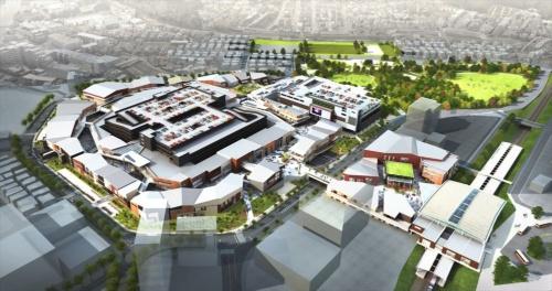 南町田グランベリーパークの全体俯瞰(ふかん)イメージ(資料:町田市・東急電鉄)