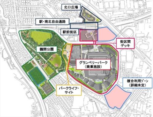 南町田グランベリーパークの全体像(資料:町田市・東急電鉄)