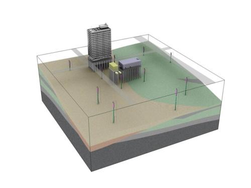 3次元モデルの作成プロセスのイメージ図。棒状の物体が、ボーリングの実施場所。その結果を基に3次元モデルを作成する(資料:応用地質)