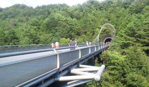 MIHO MUSEUMのアプローチ橋(写真:木村 駿)