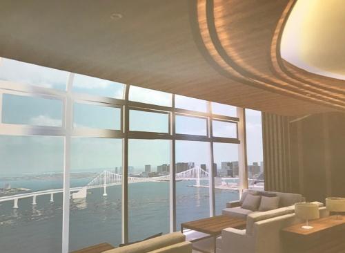 HARUMI FLAG パビリオンにある円柱状の「VRドーム」。ゴーグルを使わずに、実寸大の部屋を疑似的に確認できる。写真はマンションの共用スペースの様子(写真:日経アーキテクチュア)