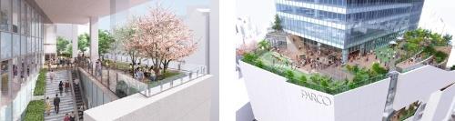 4階、8階、10階には屋外広場を設ける(資料:竹中工務店)