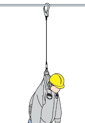 フルハーネス型墜落制止用器具とファン付き作業服を併用して装着した作業員が高所から墜落した状態のイメージ。ハーネスや命綱となるランヤードがジャケットをずり上げて首を絞めてしまう可能性がある(資料:スリーエムジャパン)