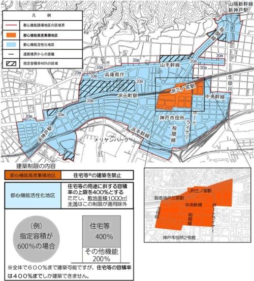 神戸市の都心機能誘導地区。オレンジ色の「都心機能高度集積地区」では住宅などの新設を禁止。「都心機能活性化地区」は住宅などの容積率を最大400%に制限する(資料:神戸市)