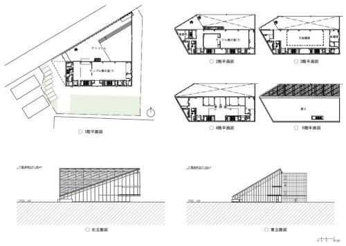 「ROOFLAG賃貸住宅未来展示場」の各階平面図と立面図(資料:マウントフジアーキテクツスタジオ)