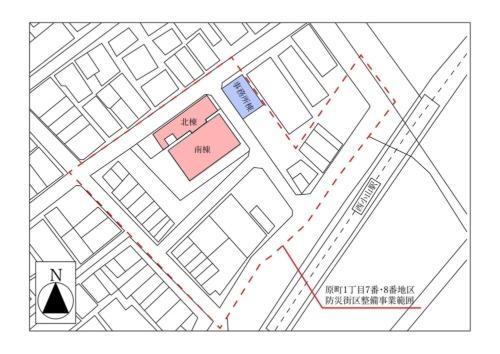 クラフトビレッジ西小山の建物配置図。確認済み証の交付を受けていたのは、事務所棟のみだった(資料:目黒区の資料を基に日経アーキテクチュアが作成)