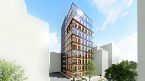 大林組が設計、施工を手掛ける高層純木造耐火ビルの完成予想図。2022年3月の完成予定で自社の研修施設として活用する(資料:大林組)