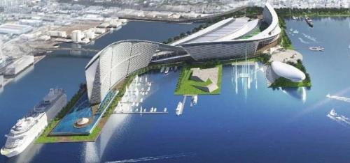 「横浜IR」のイメージ。2019年8月22日、横浜市が会見で示した。18年度に実施した検討調査で、12事業者から山下ふ頭を立地とした提案があった(資料:横浜市)