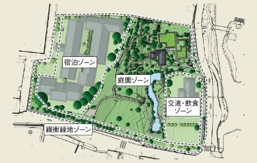 奈良県が開発を進めるホテルと飲食店の配置図(資料:奈良県)