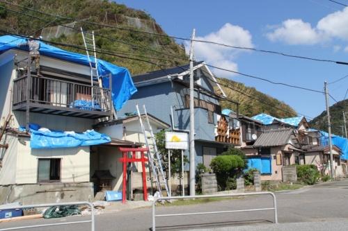 ブルーシートで養生した被災住宅が並ぶ千葉県鋸南町。9月19日に撮影(写真:日経ホームビルダー)