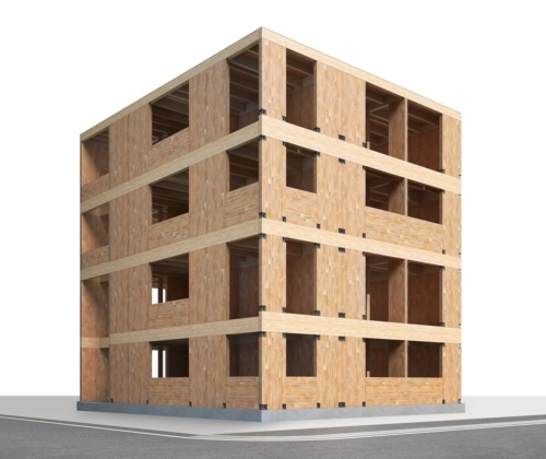 大東建託がCLTを導入したForterb(フォルターブ)の構造イメージ。4階建ての賃貸住宅で、各フロアに3戸、合計12戸を配置する(資料:大東建託)