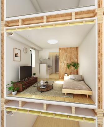洋室の断面イメージ。CLTの木質感を生かした内装としている(資料:大東建託)