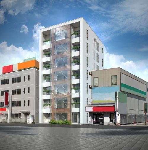 「(仮称)仙台駅東口プロジェクト」の完成予想パース。前面にガラスカーテンウオールを用い、COOL WOODの表面材を現しにする(資料:シェルター)