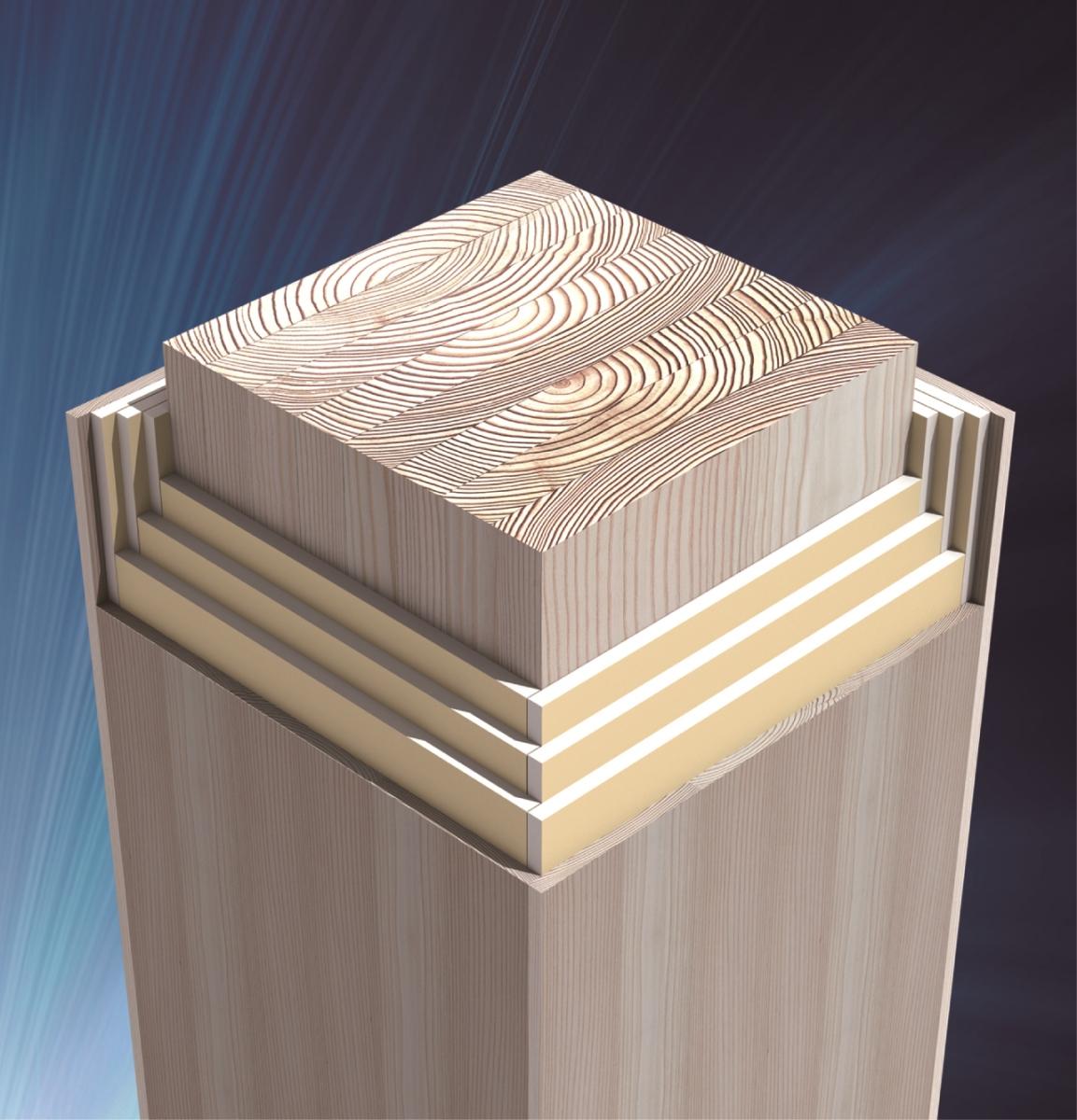 COOL WOODの概要。木製の荷重支持部材の周りを石こうボードで覆い、木の表面材で仕上げる。表面材が燃えしろとなり、さらに石こうボードで熱の伝導を遅らせる(資料:シェルター)