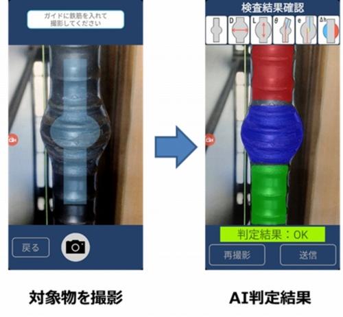 ガイドに合わせてスマートデバイスでガス圧接継ぎ手を撮影すると、AIが写真を分析して検査結果を表示する(資料:NTTコムウェア)