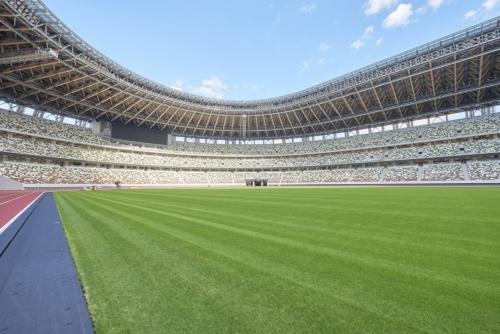 フィールドからスタンドを見上げる。客席は全部で6万席。「こもれび」をイメージしてランダムに配色した(写真:日本スポーツ振興センター)