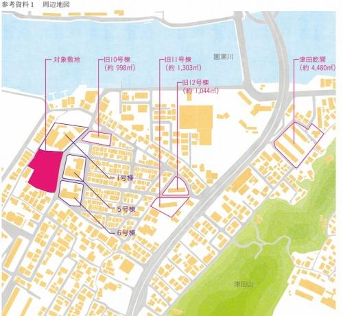 awaもくよんプロジェクトの関連地図。徳島県新浜町に立つ「新浜町団地」の旧10号棟、旧11号棟、旧12号棟の計3棟を、新築する県営住宅1棟(27戸)に集約する(資料:徳島県)