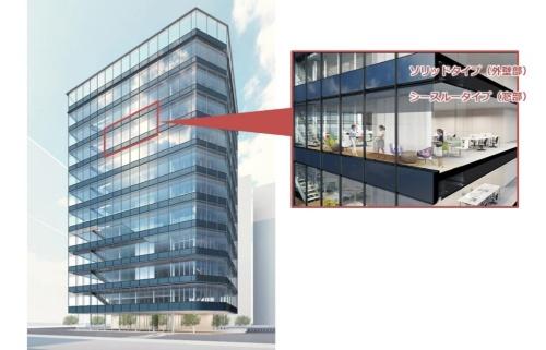 建材一体型の太陽電池「T-Green Multi Solar」を外装に設置した中小規模ビルのイメージ(資料:大成建設)