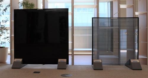 左がソリッドタイプ、右がシースルータイプのサンプル(写真:日経アーキテクチュア)