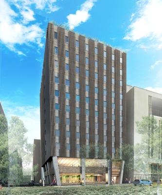 札幌市に2021年秋に開業する高層ハイブリッド木造ホテルの完成イメージ(資料:三菱地所)