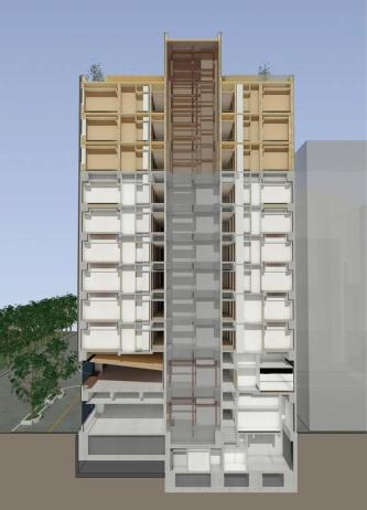 断面イメージ。1~7階は鉄筋コンクリート(RC)造、8階はRC造と木造の混構造、9~11階は木造で構成する(資料:三菱地所)