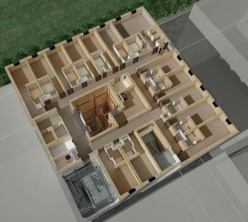 木造部の平面イメージ。高耐力の枠組み壁を、外壁と間仕切り壁に使う。床はCLT材だ(資料:三菱地所)